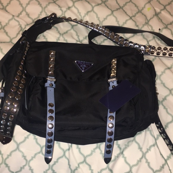 a6cfe2111873 Prada Bags | Nylon Studded Messenger Bag | Poshmark
